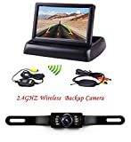 Podofo 4.3' Foldable Car TFT LCD Monitor Wireless Backup Camera License Plate Reverse Rear View Parking System Set