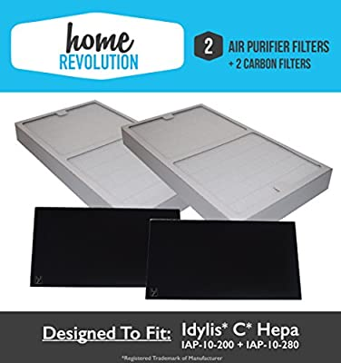 2-Pack Idylis Type C IAP-10-200, IAP-10-280 Hepa Air Purifier Filter PLUS 2-Pack Carbon Comparable Filters; Home Revolution Brand Quality Replacement