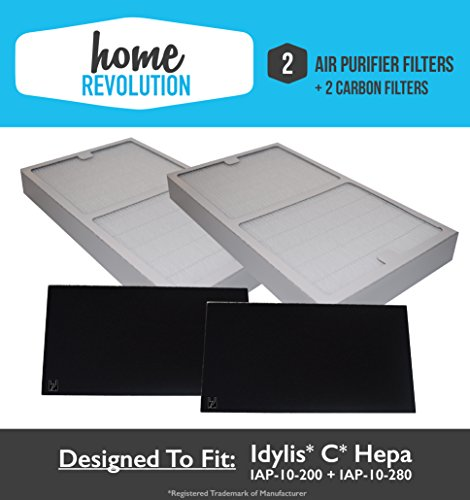 2-Pack Idylis C Hepa Air Purifier Filter PLUS 2-Pack Carbon comparable filters for IAP-10-200, IAP-10-280; Home Revolution Brand Quality Replacement (1)