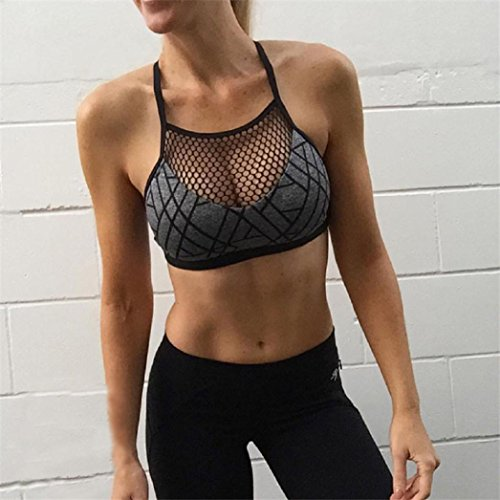 Hot Sale Women Sport BraCanserin Womens New Sport Athleisure Bra Camisole Yoga Mesh Vest Short Blouse Gym Tops