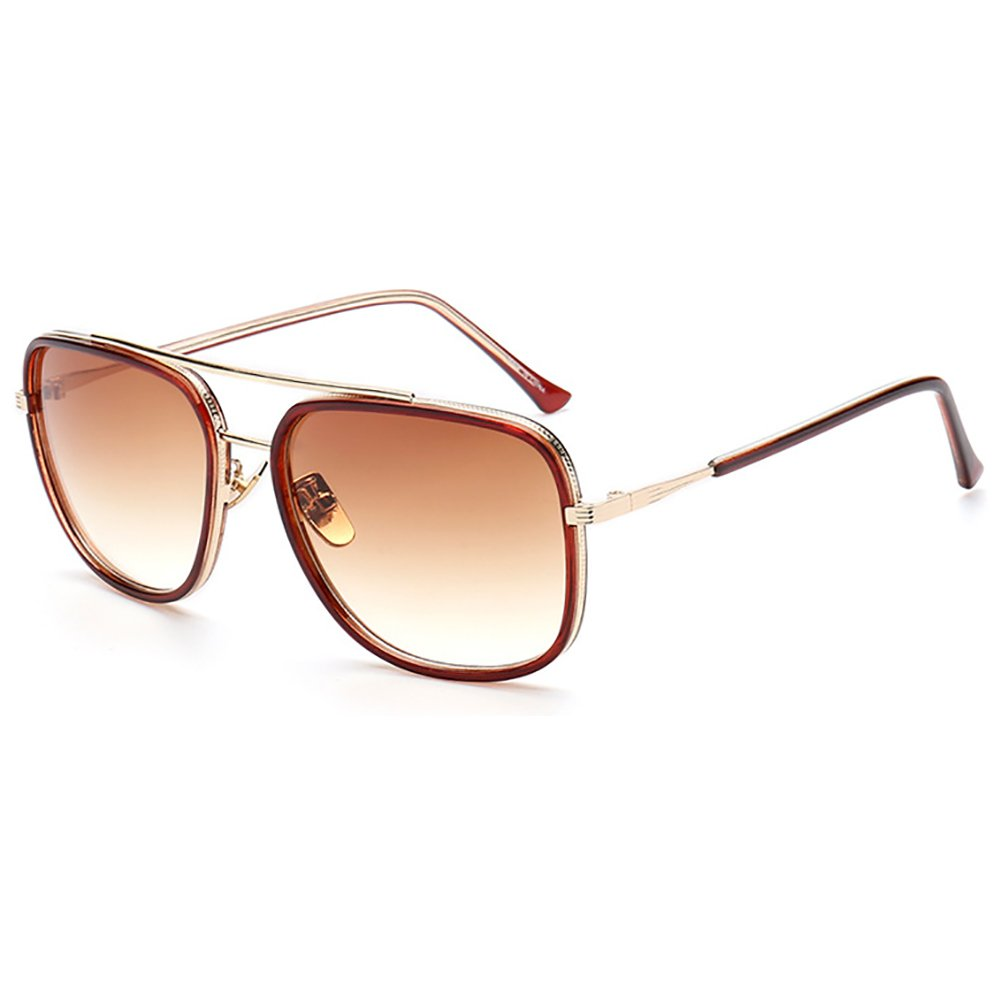 Aviator Sunglasses Square Metal Frame Sunglasses Retro Eyewear Gold UV400 SHEEN KELLY 97081-2