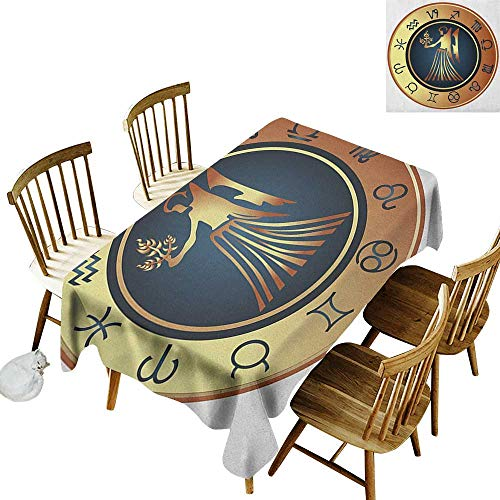 (kangkaishi Iron-Free Anti-fouling Holiday Long Tablecloth Table decorationCircle with Twelve Sign and Fantasy Woman Holding Wheat W60 x L102 Inch Dark Blue Cinnamon Pale Yellow)