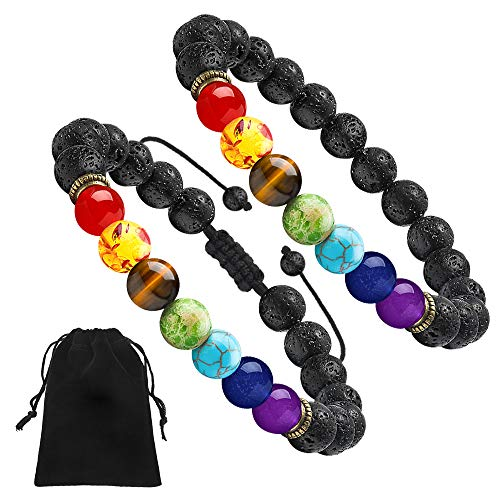 Lave Rock Bead Chakra Bracelet - 8mm Nature Lava Rock Stone Bracelet 7 Chakras Anxiety Bracelet Set, Women Men Stress Relief Yoga Beads Aromatherapy Essential Oil Diffuser Bracelets(2 Pcs Set) (Stones That Help With Anxiety And Depression)