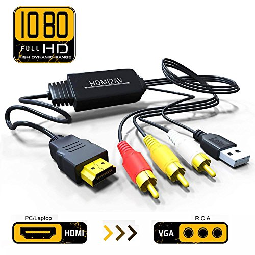 Price comparison product image HDMI to Composite AV 3 RCA CVBS Video Audio Converter Adapter Cable 720p 1080p Upscaler with USB Charge Cable for TV PC PS4 DVD VHS VCR Camera