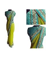 I-Brand Women's Net Saree With Blouse Piece (Isunsa670,Green,Free Size)