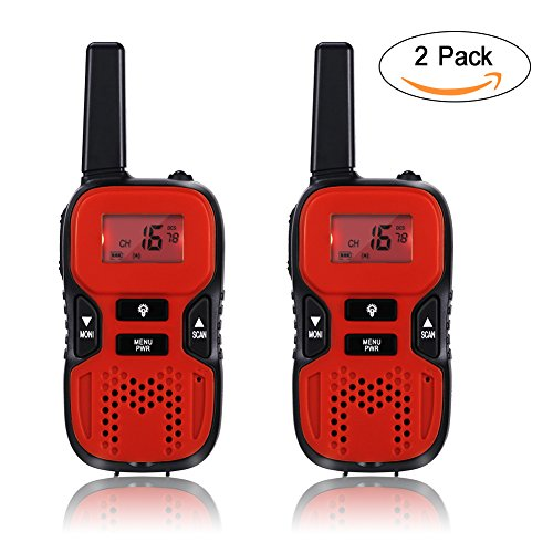GHB Walkie Talkies for Kids, 22 Channel Walkie Talkies 2 Way Radio 3 Miles up to 5 Miles FRS/GMRS Handheld Mini Walkie Talkies for Kids (Pair) (Red)