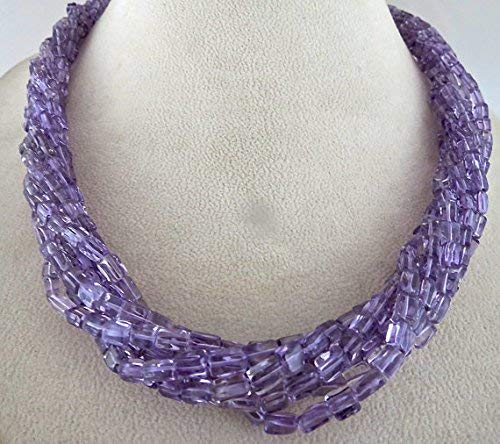 7 Line Natural Brazilian Amethyst Fancy Tube Beads Necklace 24 INCHES 5MM by Gemswholesale