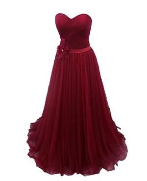 Winnie Bride Women's Strapless Prom Ball Dress Evening Gown for Wedding Long-26W-Burgundy