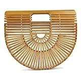 Women's Top Handle Bamboo Handbag Summer Beach Tote Bag (Large)