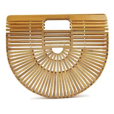 Women's Top Handle Bamboo Handbag Summer Beach Tote Bag (Small)
