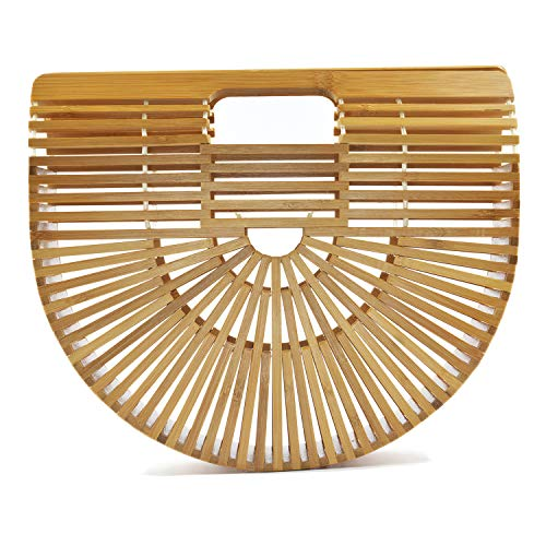 Women's Top Handle Bamboo Handbag Summer Beach Tote Bag (Small) ()