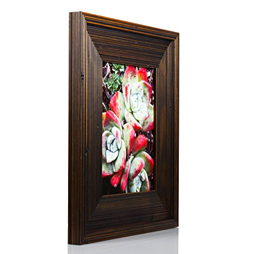 "Craig Frames Barnwood Rustic, 3"" Dark Brown Solid Wood Pictu"