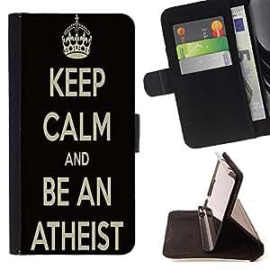 King Case - FOR Samsung Galaxy A3 - Be a quiet person - Prima caja de la PU billetera de cuero con ranuras para tarjetas, efectivo Compartimiento desmontable y correa para la mu?eca