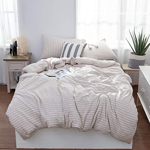 Lifetown Jersey Knit Cotton Duvet Cover Queen 1 Duvet Cover And 2 Pillowcases Striped Duvet Cover Set Extremely Soft And Breathable Full Queen Light Coffee Off White Stripes