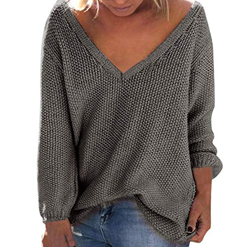 Sunhusing Women's Fall Winter Loose Long Sleeves Deep-V Neck Knitwear Sweater Pullover Blouse ()