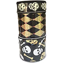 Gold and Black Diamond Design Cream Colored Skulls and Gold and White Skull and Bones Bundle of Three Halloween Themed Ribbons