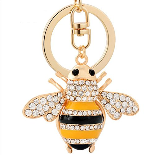 Qinlee Honeybee with Big Smile Keychain Crystal Keyring Rhinestones Purse Pendant Handbag Charm Key chain Key chain(Gold) (Purse Pendant)