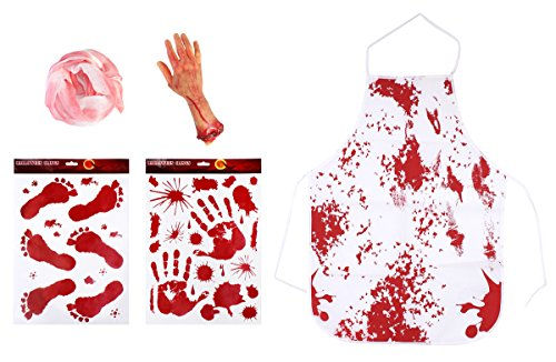 Haunted House Decorations Bloody Splatter Print Halloween Horror Themed Scary Party Props, Set of Blood Hand, Cloth, Apron and Bloody Foot& Hand Print (Bloody Foot Hanging Prop)