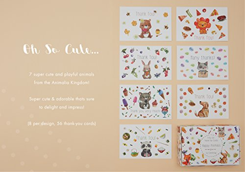 56 Thank You Cards - 7 Adorable & Cute ANIMAL Note Cards Designs with Matching Box & 58 ENVELOPES, Perfect for Your Baby Shower or Kid's Birthday Party! Photo #7
