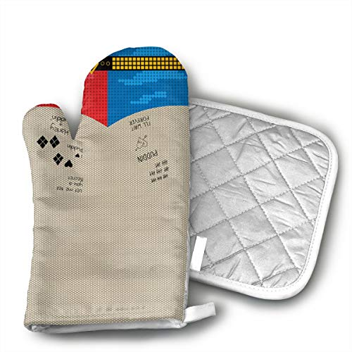 ECEED DAI Suicide Squad Harley Quinn Oven Mitts,with Potholders Oven Gloves,Insulated Quilted Cotton Potholders]()