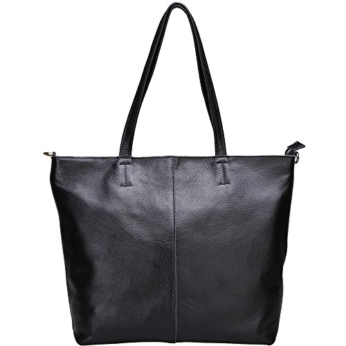 Womens High Quality Genuine Leather Leisure Top-Handle Bags (Black) - 5