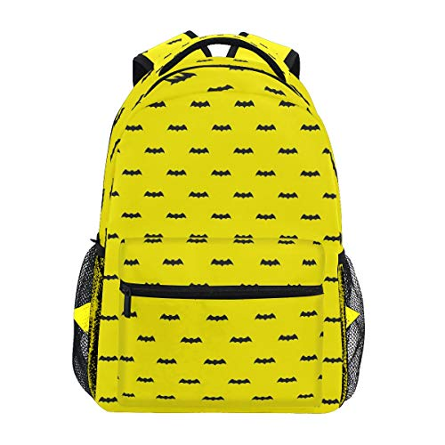 COVOSA Bat Halloween Vector Seamless Pattern Wallpaper Background Yellow Lightweight School backpack Students College Bag Travel Hiking Camping Bags ()