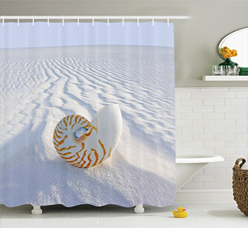 Ambesonne Seashells Collection Nautilus Polyester