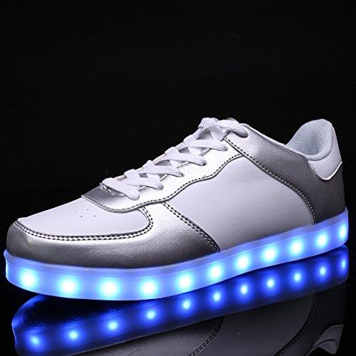 Ryanmay Jungen Mädchen und Kinder Shiny Night LED Leuchten Schuhe USB Lade Blinken Turnschuhe Für Kinder Weißsilber