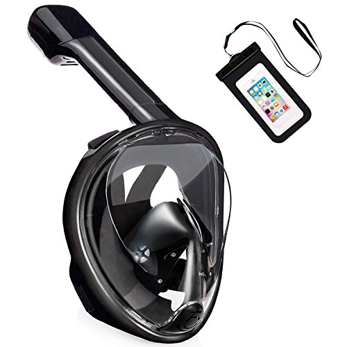 40% Off Pankoo Full Face Snorkel Mask with a Waterproof Phone Case,Color: Black-L/XL Only