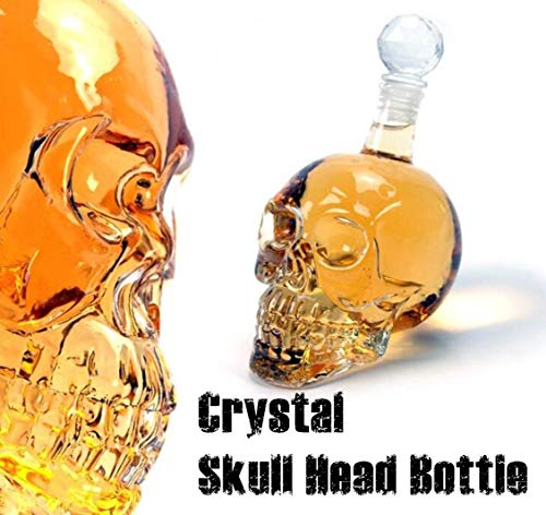 - RULONG Crystal Skull Head Vodka Whiskey Bottle Creative Bar Gothic Wine Decanter 350ML