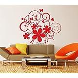00716 Adesivi murali ''Vortici di fiori e farfalle'' - Stickers adesivi - 100x92 cm - Rosso - Decorazione parete, adesivi per muro, carta da parati
