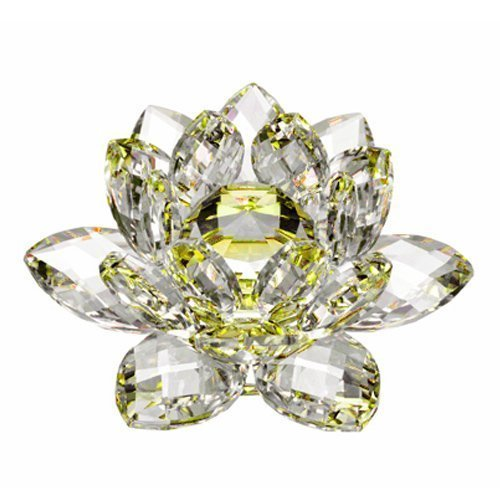 Amlong Crystal Hue Reflection Lotus Flower with Gift Box, 3 inches, Yellow