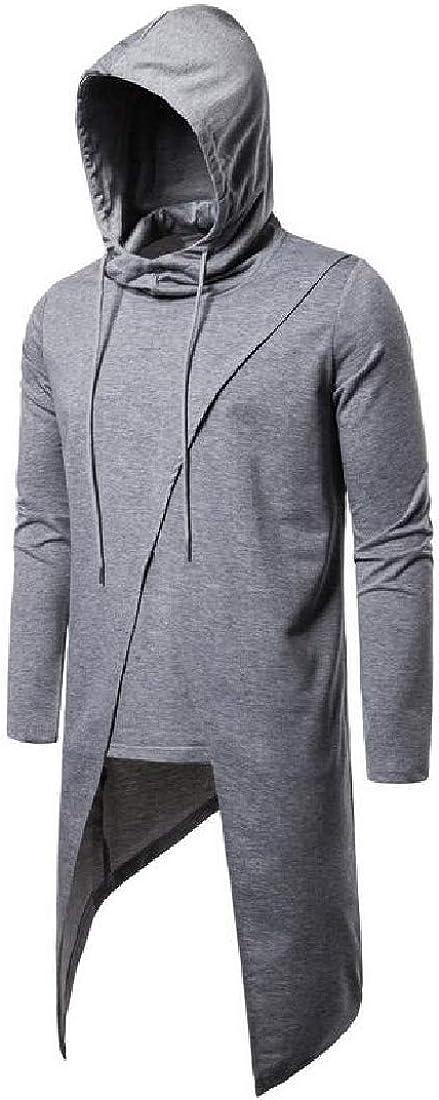 CRYYU Men Solid Color Pullover Casual Hooded Irregular Autumn Sweatshirt Top