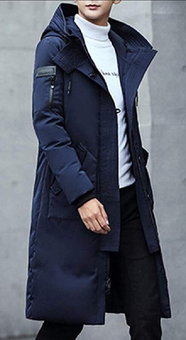 WSPLYSPJY Mens Winter Thickened Hooded Long Down Jacket