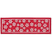 Handmade Snowflake 100% Wool Winter Decorative Red White Ski Skiing Lodge Hooked Christmas Hallway Runner Rug. 30 x 8.