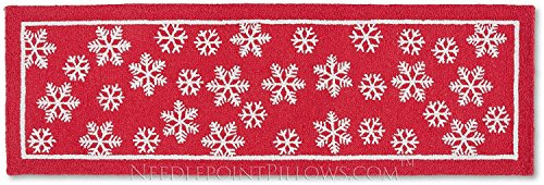 Handmade Snowflake 100% Wool Winter Decorative Red White Ski Skiing Lodge Hooked Christmas Hallway Runner Rug. 30'' x 8'. by NeedlepointPillows.com