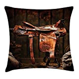 Western Throw Pillow Cushion Cover, American West Traditional Authentic Style Rodeo Cowboy Saddle Wood Ranch Barn Image, Decorative Square Accent Pillow Case, 18 X 18 inches, Dark Brown