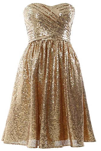 Sequin Gown Bridesmaid Party Gold Cocktail Short Women MACloth Dress Strapless Formal ATRxqxUwE