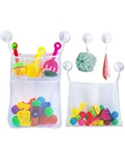 Badspeelgoed, opbergnet met 6 zeer sterke zuignappen, badnet voor speelgoed, groot badspeelgoed, opslag voor kinderen en baby's, bevestiging zonder boren