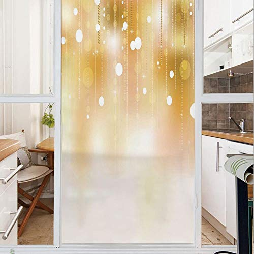 Decorative Window Film,No Glue Frosted Privacy Film,Stained Glass Door Film,Blurred Background with Golden Color Circles Decor Digital Prints Artwork,for Home & Office,23.6In. by 78.7In Gold White