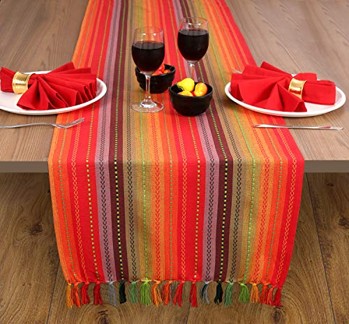 2 Pack Salsa Stripe 100% Cotton Table Runner with Decorative Fringes 16x90 Red Multi - Hand Woven by Skilled Artisans