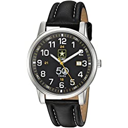 U.S. Army Wrist Armor Men's 'Franklin Mint' Swiss Quartz Stainless Steel and Leather Casual Watch, Color:Black (Model: 37FM0200101A)