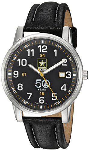 U.S. Army Wrist Armor Men's 'Franklin Mint' Swiss Quartz Stainless Steel and Leather Casual Watch, Color:Black (Model: 37FM0200101A) -  H. Best, Ltd.