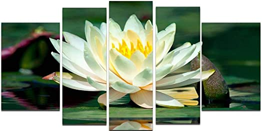 Startonight Glass Wall Art Acrylic Decor Set Water Lily, and a Contemporary Clock Set of 5 Total 35.43 X 70.87 Inch 100 Original Artwork the Ultimate Wall Art