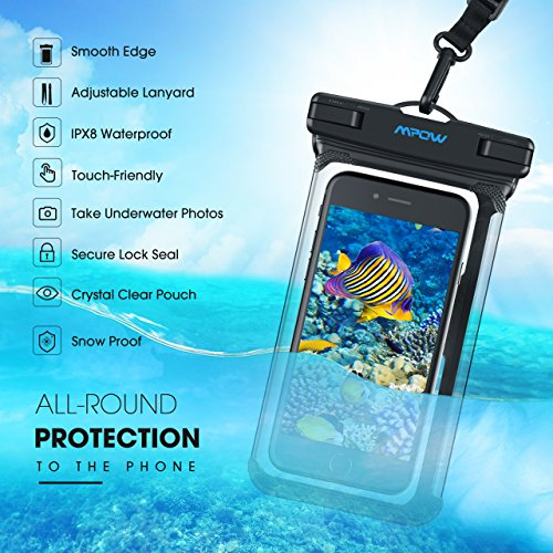 Mpow Waterproof Phone Pouch, Full Transparency IPX8 Waterproof Case with Adjustable Lanyard Universal Dry Bag Compatible for iPhone X/8/8P/7/7P, Galaxy S9/S9P/S8P/Note 8, Google/HTC up to 6.0'' 2-Pack by Mpow (Image #3)
