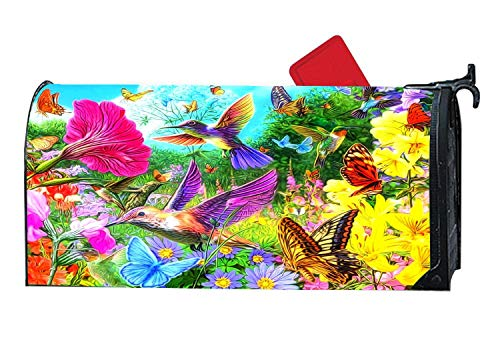 Personalized Magnetic Mailbox Cover for Standard Sized Mailboxes, 6.5 x 19 Inches - Colorful Spring Collage Butterflies Flowers Birds
