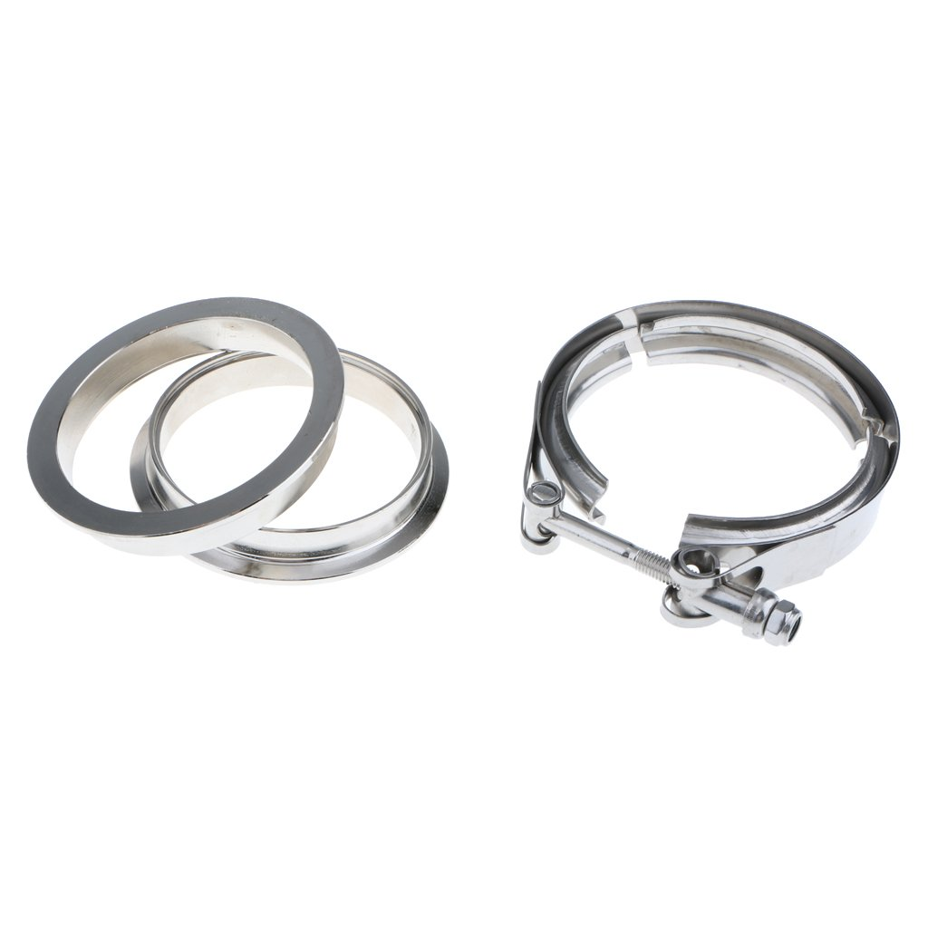 Homyl 2 2.5 3 3.5 4 Inch Universal Stainless Steel V-Band Quick Release Clamp Flange Kit 4 inch