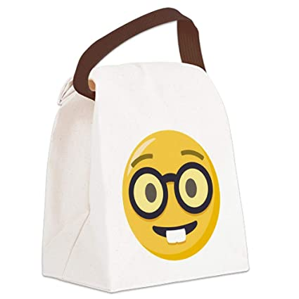 9fc1313f6b Amazon.com  CafePress Nerd Face Emoji Canvas Lunch Bag with Strap ...