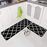Carvapet 2 Pieces Microfiber Moroccan Trellis Non-Slip Soft Kitchen Mat Bath Rug Doormat Runner Carpet Set, 17'x48'+17'x24', Black