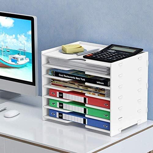 Knoijijuo Ablagefächer Ablagesystem, aus Bambus für den Schreibtisch Organizer mit 6 herausnehmbaren Schubladen Aufbewahrungsbox als Briefablage fürs Büro,Medium